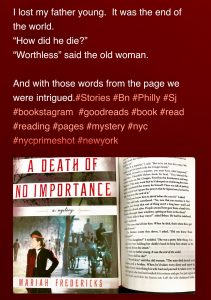 """Featured Author Mariah Frederick """"A Death of No Importance"""""""